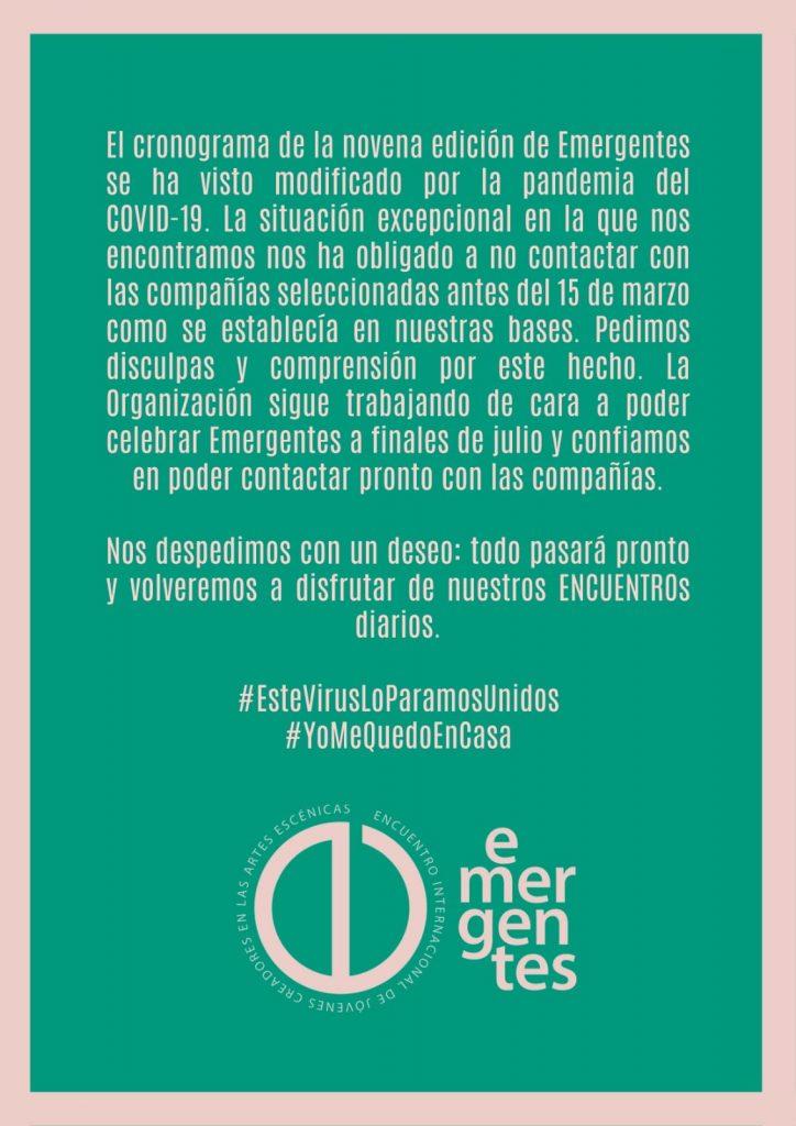 COMUNICADO sobre la 9ª edición de Emergentes.